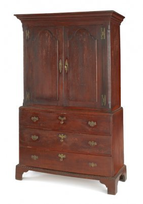 New Jersey Chippendale Gumwood Linen Press, Ca.