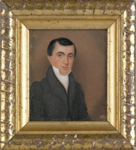 Miniature Watercolor On Ivory Portrait Of A Gent
