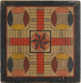 New England Painted Pine Parcheesi Game Board, L