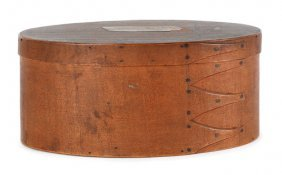Oval Shaker Bentwood Box, With An Old Label Ro