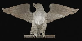American Carved Mahogany Spread Winged Eagle Arc