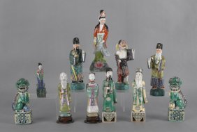 Eleven Chinese Pottery And Porcelain Figures, Tal