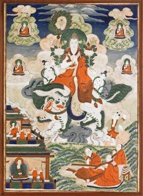 Pair Of Tibetan Painted Thangkas, 35'' X 24 1/2''