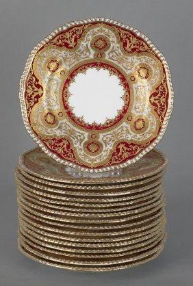 Seventeen Coalport Porcelain Plates With Gilt Dec