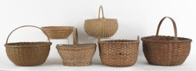 Five Splint Gathering Baskets, 19th C., Together