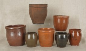 Five Redware Crocks, 19th C., Together With Two E