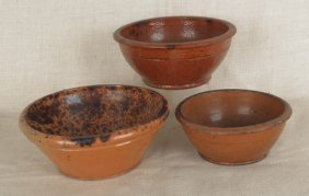 Three Redware Bowls, 19th C., With Manganese Deco