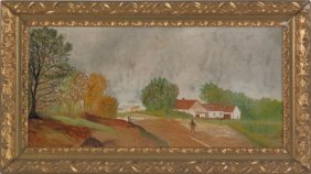 Oil On Board Landscape With A House, Ca. 1900, 11