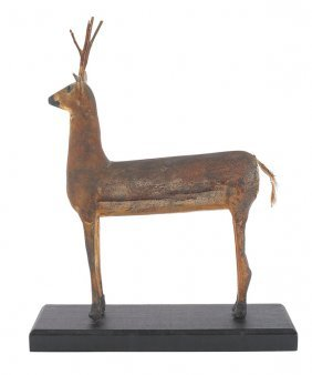 Folk Art Carved And Painted Figure Of A Deer, 19