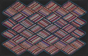 American Hooked Rug, 20th C., With A Striped Di