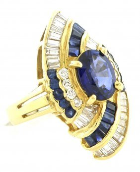 Vintage 14k Y/ Gold Diamond Cornflower Sapphire Ring