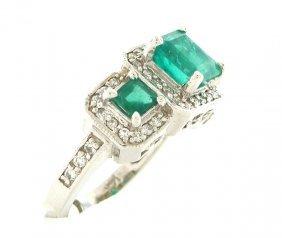 New 14k White Gold Diamond Colombian Emerald Ring