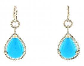 New 14k W/ Gold Diamond Chandelier Turquiose Earrings