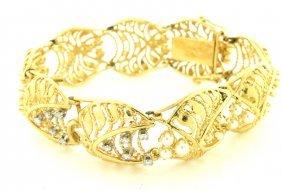 Antique 14k Yellow Gold Diamond Opal & Pearl Bracelet