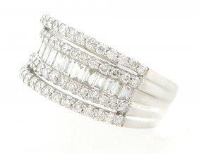 New 18k White Gold Diamond Baguette Ring 1.70ct G Vs