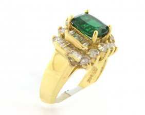 New 14k Yellow Gold Diamond & Green Garnet