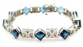 New 14k White Gold Diamond London Topaz Bracelet