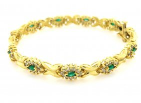 Antique 14k Yellow Gold Diamond Emerald Bracelet