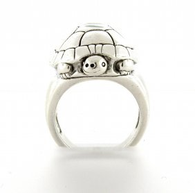 Kieselstein Cord Sterling Silver Turtle Ring