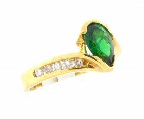 Estate 14k Y/ Gold Pear Green Tsavorite Diamond Ring