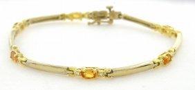 New 14k Yellow Gold Diamond Citrine Ladies Bracelet