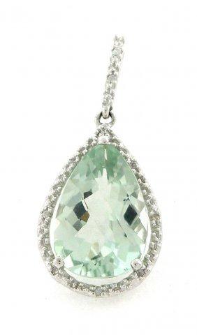 10k White Gold Diamond Green Quartz Pear Pendant
