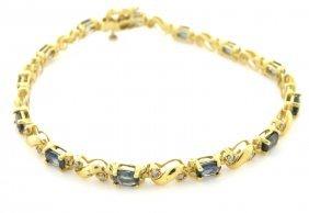 14k Yellow Gold Diamond Sapphire Ladies Tennis Bracelet