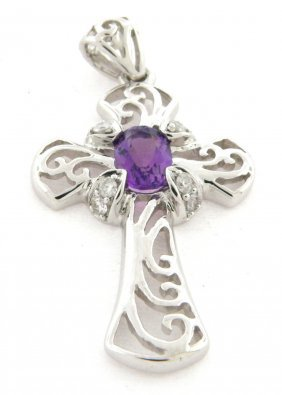 New 14k White Gold Amethyst & Diamond Cross Pendant