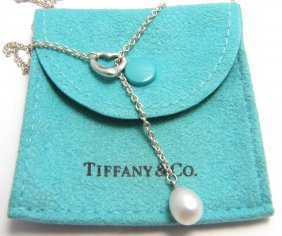 Tiffany & Co. Silver Pearl Lariat Heart Necklace