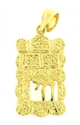14k Yellow Gold Chai Hai Pendant Or Charm Judaica