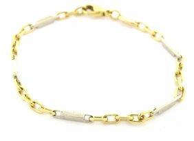 "Vintage 18k Two Tone Gold Ladies Link Bracelet 6.75"""