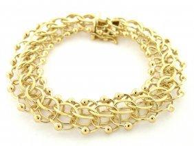 Vintage 14k Yellow Gold Fancy Link Bracelet Heavy