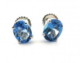 14k White Gold Natural Blue Topaz Studs Earrings