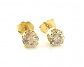 14k Yellow Gold Champagne Diamond Studs Earrings 1.36ct