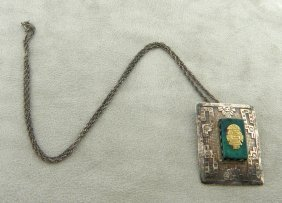 Vintage 18k Silver Peruvian Malachite Pendant Necklace