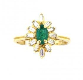 Vintage 14k Yellow Gold Diamond & Emerald Ring