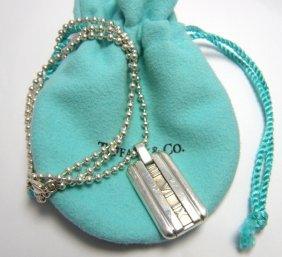 Tiffany & Co. Sterling Silver Atlas Necklace Dog Tag