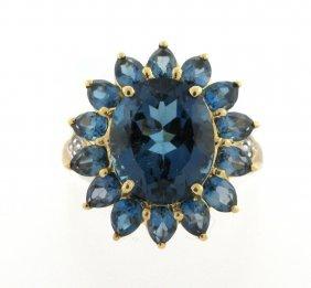 10k Yellow Gold Diamond & Blue Topaz Flower Ring
