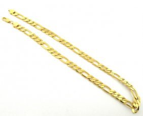 New 14k Yellow Gold Figaro Solid Chain Necklace 7mm 18""