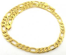 14k Yellow Gold Figaro Solid Chain Necklace 10.5mm 18""