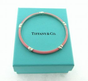 Tiffany & Co. Sterling Pink Enamel X Signature Bangle