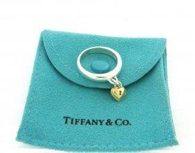 Tiffany & Co. 18k Gold Silver Padlock Lock Heart Ring