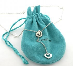Tiffany & Co. Silver Lariat Heart Necklace