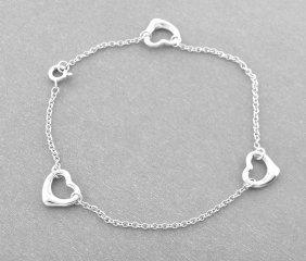 Tiffany & Co. Sterling Silver 3 Heart Bracelet Peretti