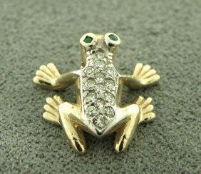 Vintage 14k Y/ Gold Diamond Emerald Frog Pendant Charm