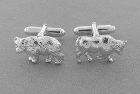 Tiffany & Co. Sterling Silver Bull & Bear Cufflinks