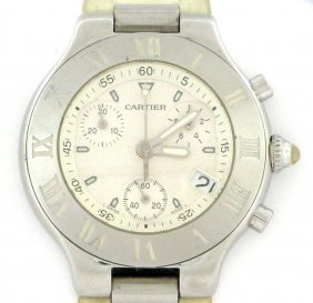 Cartier 21 Chronoscaph Men's White Rubber Watch
