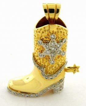 New 14k Yellow Gold Diamond Cowboy Shoe Pendant