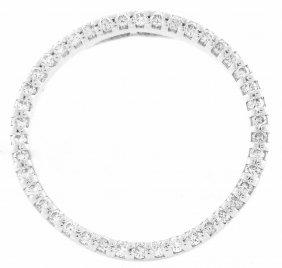 New 18k White Gold Diamond Open Circle Pendant G Vs