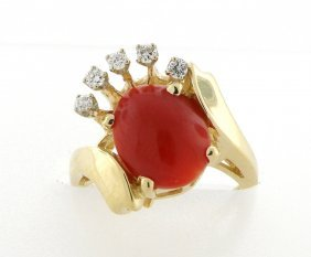 Vintage Unique 14k Yellow Gold Coral And Diamond Ring